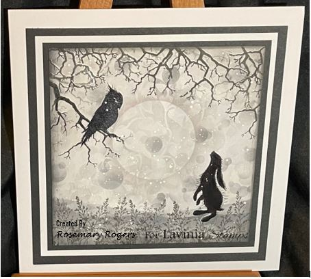 The owl and The rabbit on a snowy night finished card