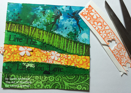 Stamp Hill Border in Adirondack Sunset Orange, and Hill Border Bloom in Adirondack Meadow on white watercolour paper. Cut out the flowers as shown and adhere to the card.