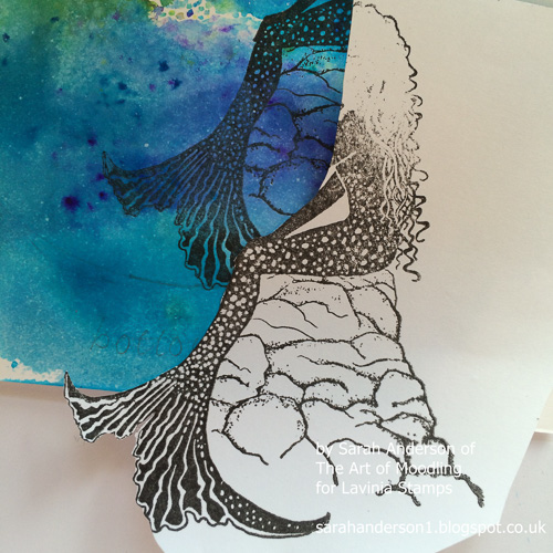 8 Stamp the mermaid again on a scrap of paper to use as a mask